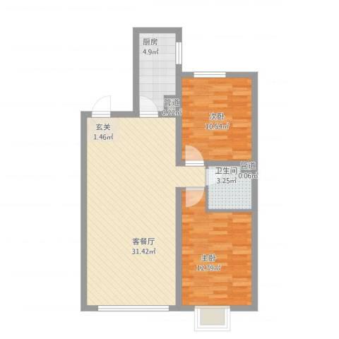 锦绣蓝湾2室2厅1卫1厨90.00㎡户型图