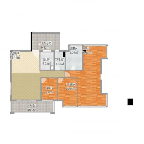 锦绣花城3室1厅3卫1厨165.00㎡户型图