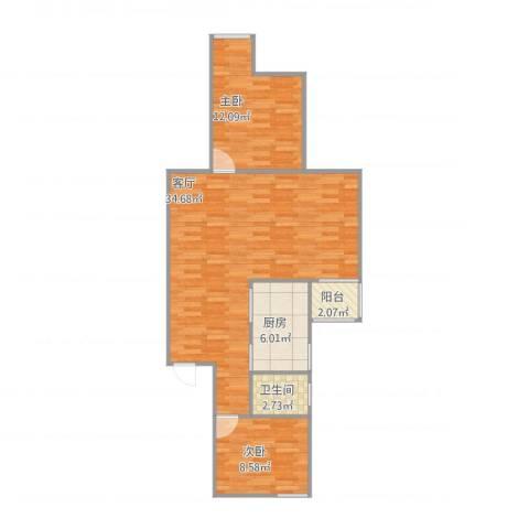 大上海国际花园雅典园2室1厅1卫1厨89.00㎡户型图