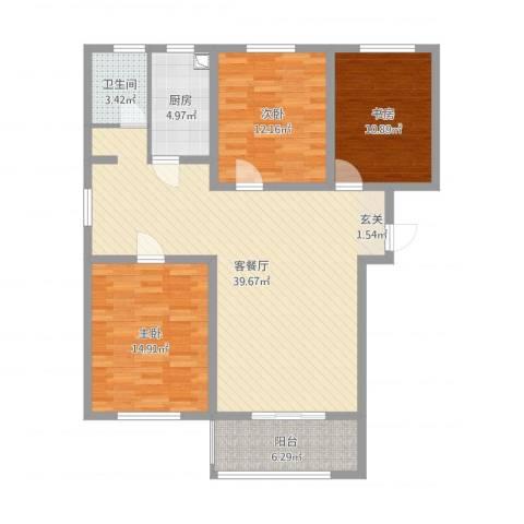 文鑫花园3室2厅1卫1厨105.00㎡户型图