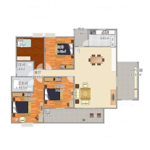 明润花园小区4室1厅2卫1厨197.00㎡户型图