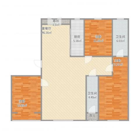 湖畔佳苑3室2厅2卫1厨142.00㎡户型图