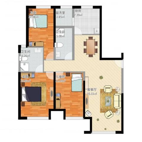 金地西沣公元3室4厅2卫1厨127.00㎡户型图