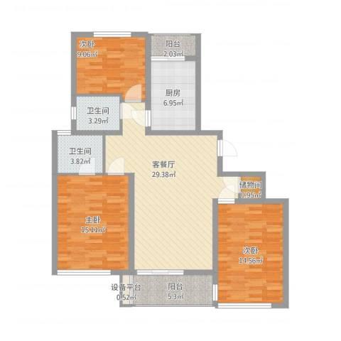 大唐盛世花园3室2厅2卫1厨130.00㎡户型图