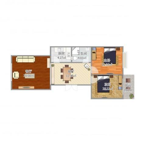 长安信合小区2室2厅1卫1厨82.00㎡户型图