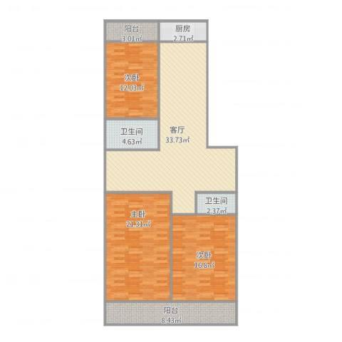 历苑小区3室1厅2卫1厨141.00㎡户型图