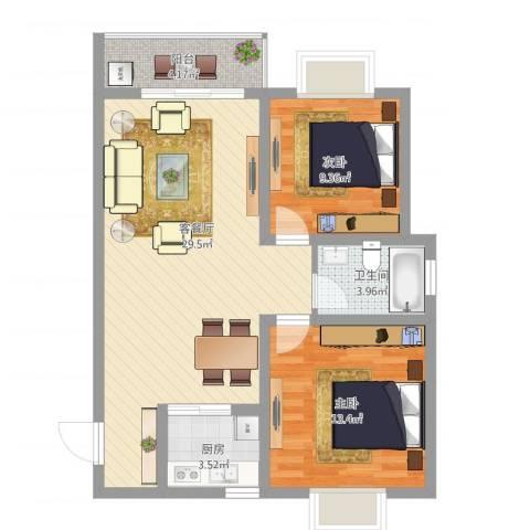 镇安新村2室2厅1卫1厨92.00㎡户型图