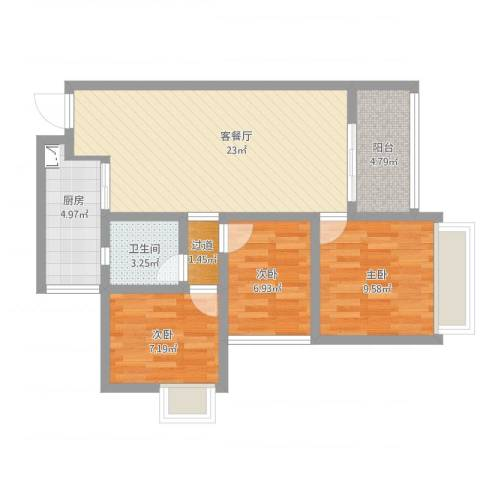 天安数码城1-2043室2厅2卫1厨90.00㎡户型图