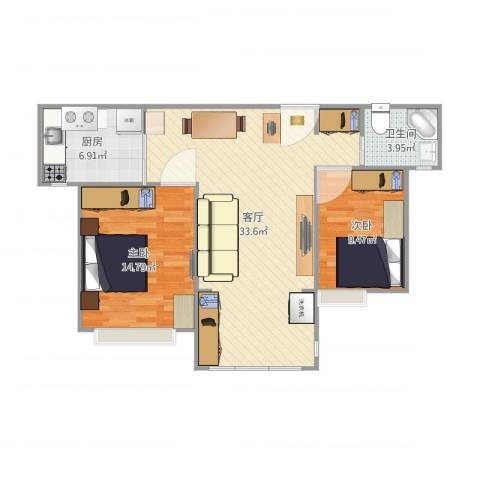 海韵嘉园2室1厅1卫1厨92.00㎡户型图