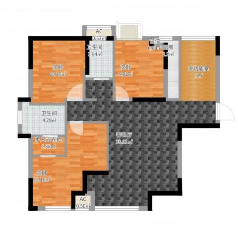 碧桂园别墅3室2厅2卫1厨120.00㎡户型图