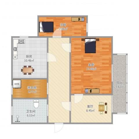 培文公寓2室1厅1卫1厨100.00㎡户型图