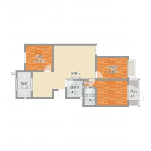 神剑苑3室4厅1卫1厨134.00㎡户型图