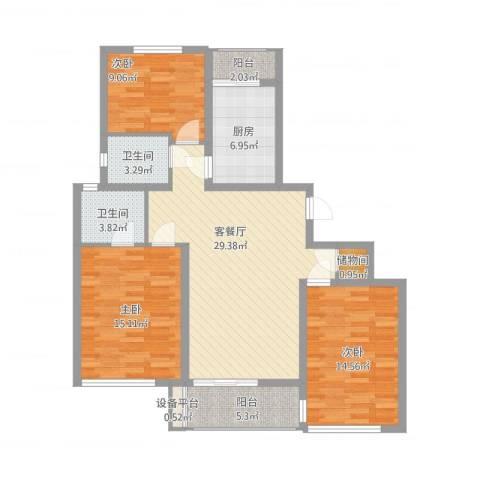 大唐盛世花园3室2厅3卫1厨130.00㎡户型图