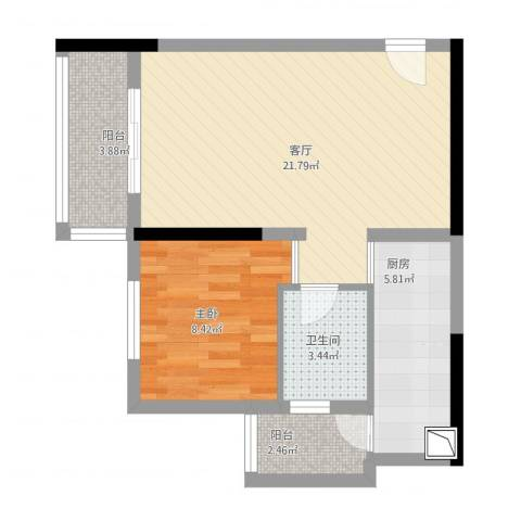 光华可乐小镇60平米小户1室1厅1卫1厨67.00㎡户型图