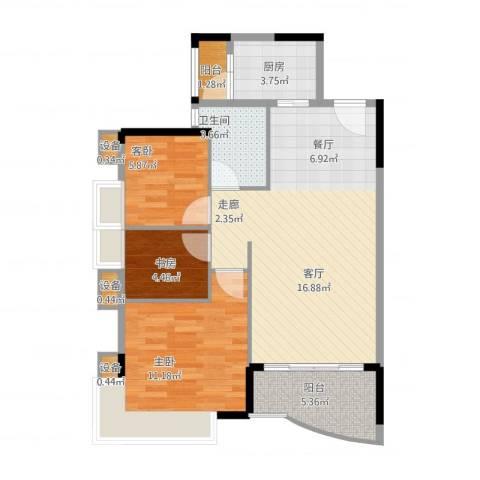 旭景家园3室2厅1卫1厨88.00㎡户型图