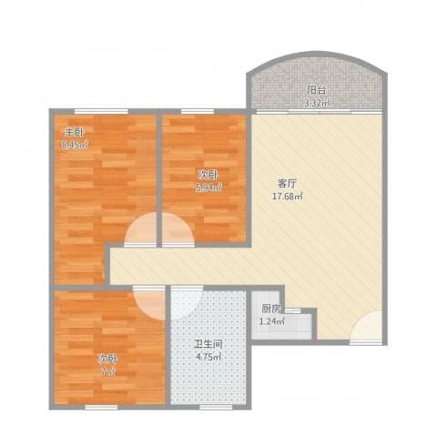 罗村花苑3室1厅1卫1厨67.00㎡户型图