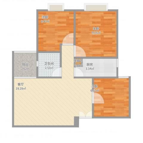 南悦花苑3室1厅2卫1厨69.00㎡户型图