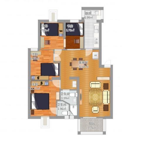漾河公寓4室2厅2卫1厨117.00㎡户型图