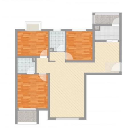 中央名邸3室2厅2卫1厨106.00㎡户型图