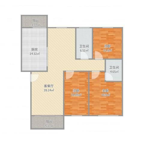 怡景丽苑3室2厅2卫1厨156.00㎡户型图