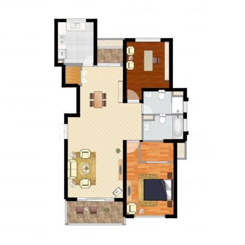 南方城2室1厅2卫1厨118.00㎡户型图