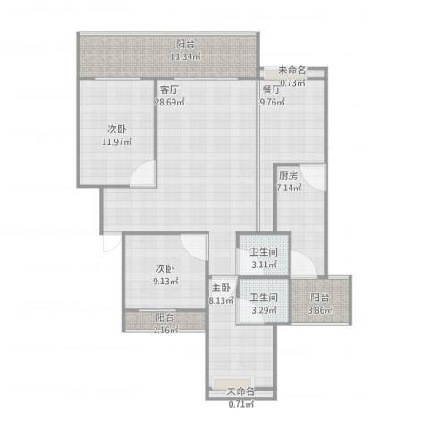 天立滨河苑3室2厅2卫1厨137.00㎡户型图