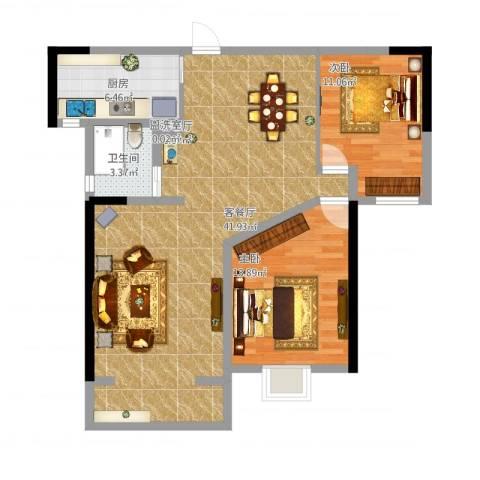 天成雅居2室6厅1卫1厨108.00㎡户型图