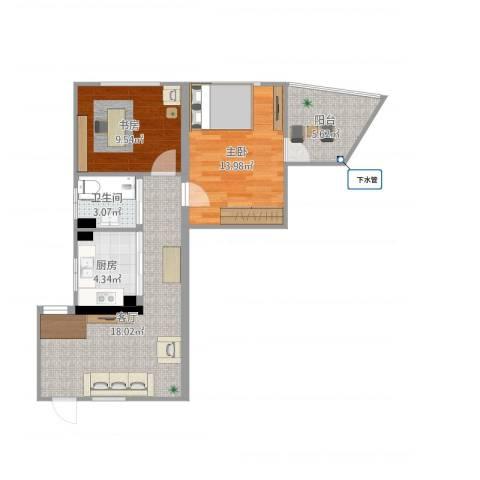 清涧三街坊2室1厅1卫1厨77.00㎡户型图