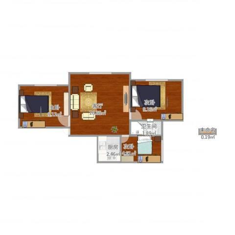 黄兴公寓3室1厅1卫1厨60.00㎡户型图