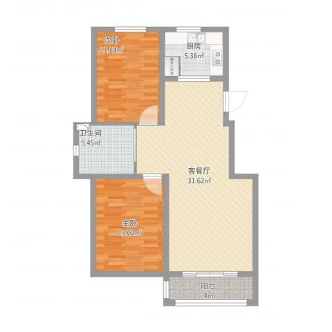 良筑名邸2室2厅1卫1厨102.00㎡户型图