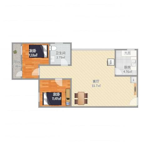江滨大厦2室1厅1卫1厨62.00㎡户型图