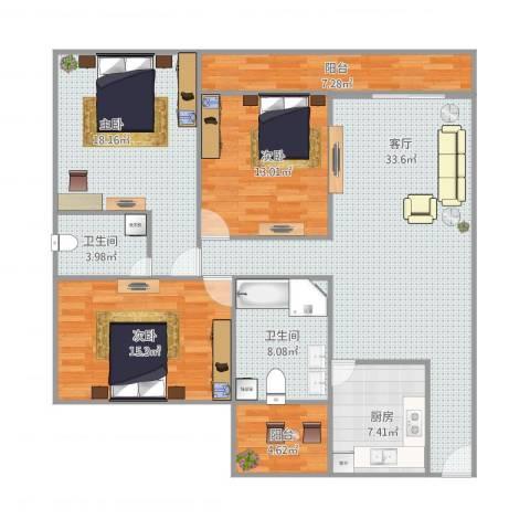 滨海御庭3室1厅2卫1厨150.00㎡户型图