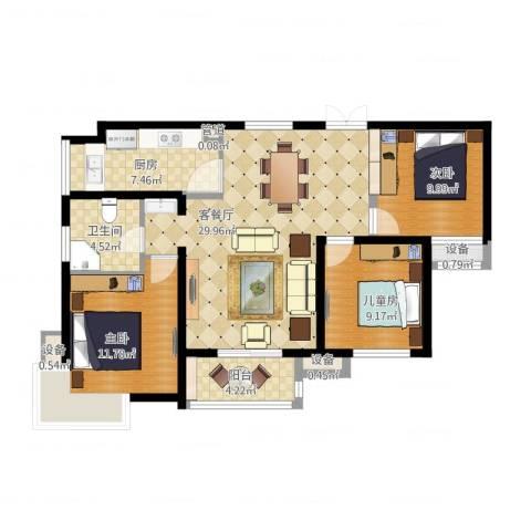 滨湖世纪城春融苑3室2厅3卫3厨114.00㎡户型图