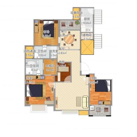 中楠时代花园4室4厅4卫2厨127.00㎡户型图
