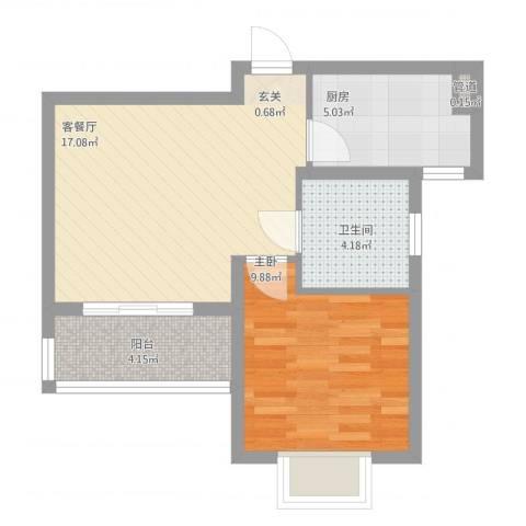 绿地21城D区公寓1室2厅1卫1厨59.00㎡户型图