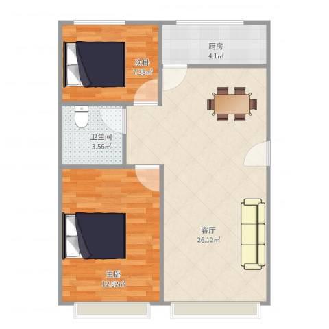 启城2室1厅1卫1厨73.00㎡户型图