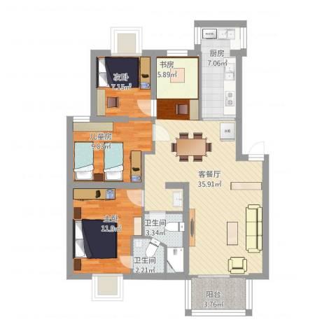 漾河公寓3室2厅2卫1厨117.00㎡户型图
