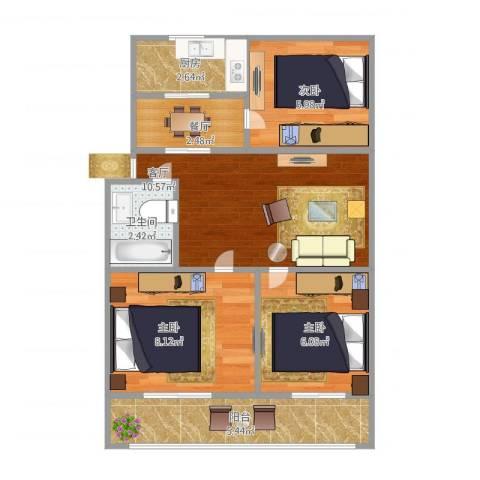 紫薇田园都市3室2厅1卫1厨61.00㎡户型图