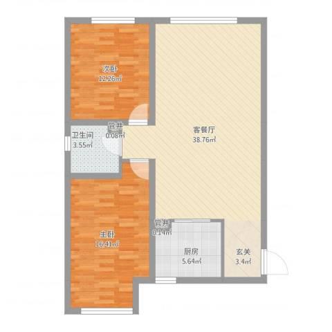 同安大唐世家2室2厅1卫1厨107.00㎡户型图
