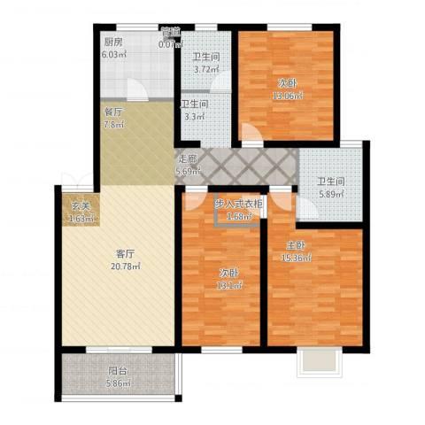 旺运花园3室2厅2卫1厨149.00㎡户型图