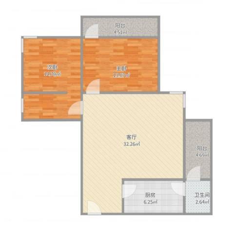 粤荣大厦2室1厅1卫1厨105.00㎡户型图