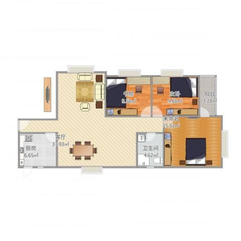 莲花广场2室1厅1卫1厨117.00㎡户型图