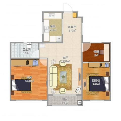 西郊花园2室1厅2卫1厨89.00㎡户型图
