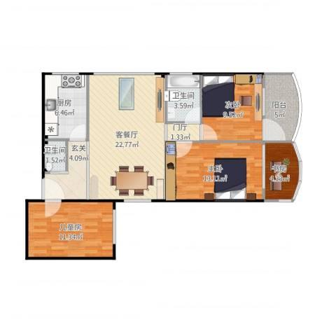 天河计经大楼4室2厅2卫1厨113.00㎡户型图