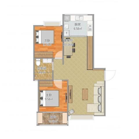 康桥半岛城中花园2室2厅1卫1厨87.00㎡户型图