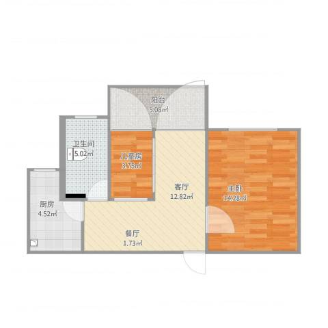 欣松苑2室1厅1卫1厨61.00㎡户型图
