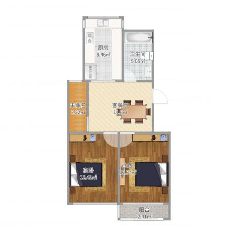 景和园2室2厅1卫1厨75.00㎡户型图