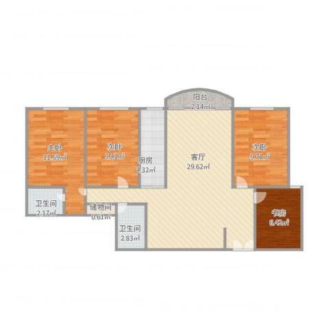 香江大花园4室1厅2卫1厨107.00㎡户型图