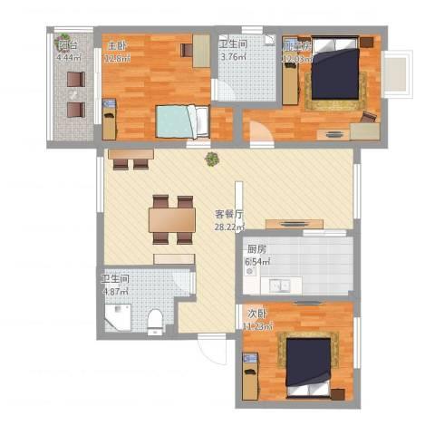 书林世家3室2厅2卫1厨122.00㎡户型图