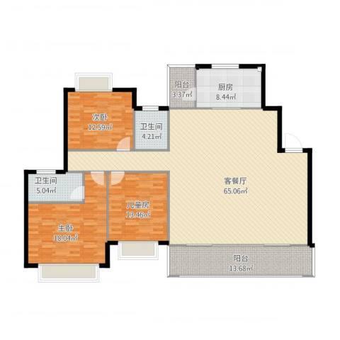 漓水书香3室2厅2卫1厨195.00㎡户型图